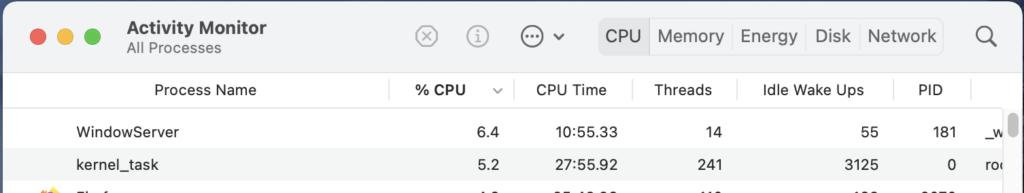 OSX Activity Monitor window