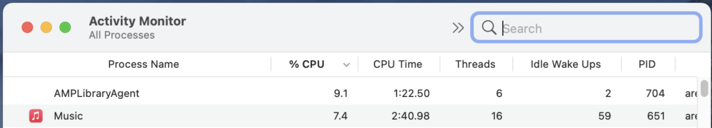 OSX Activity Monitor window with search button selected